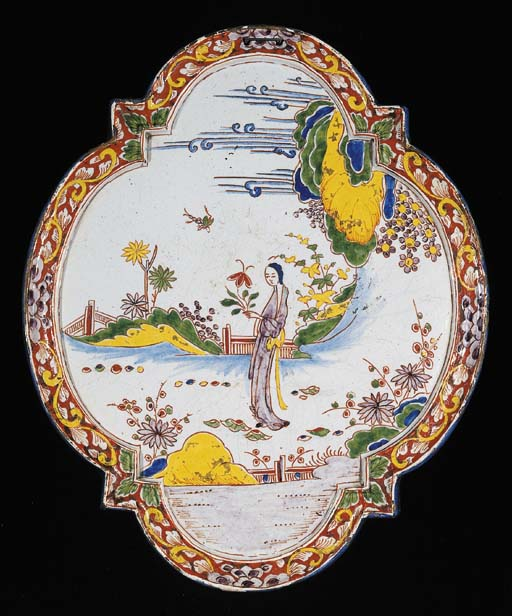 A Dutch Delft chinoiserie ogiv