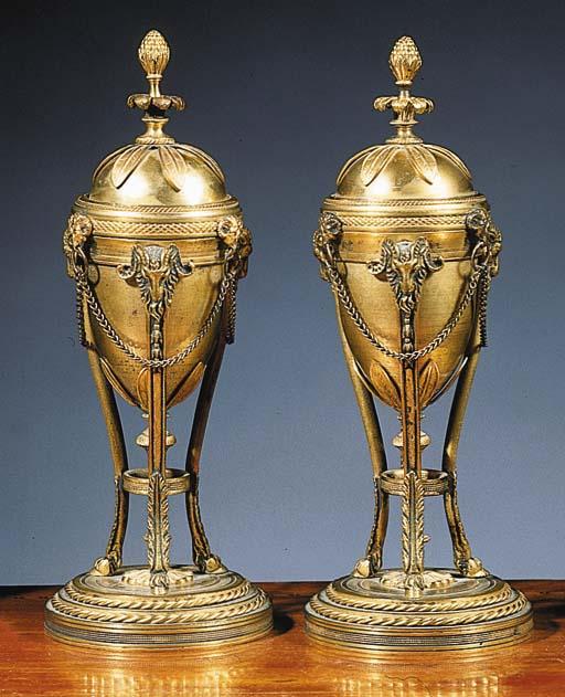 A pair of ormolu cassolettes