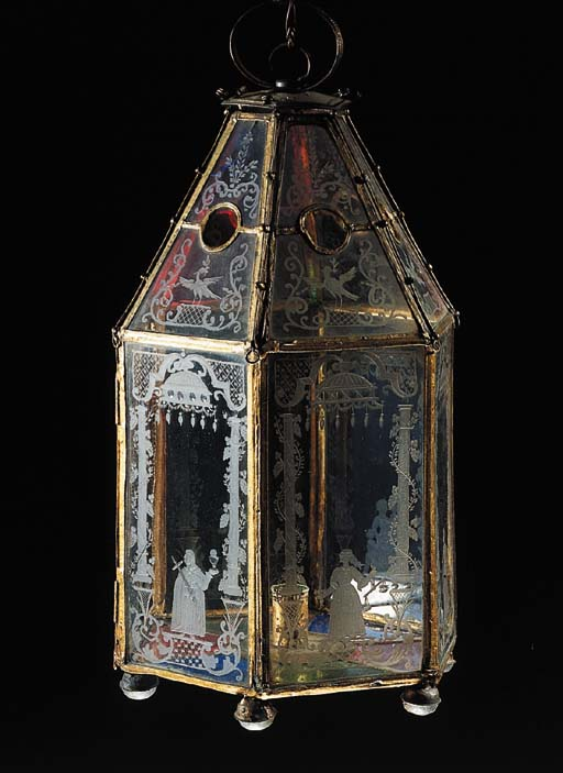 A North European gilt-metal and engraved glass hall lantern