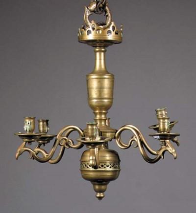 A Flemish brass six-light chan