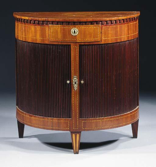 A Dutch mahogany demilune side-cabinet