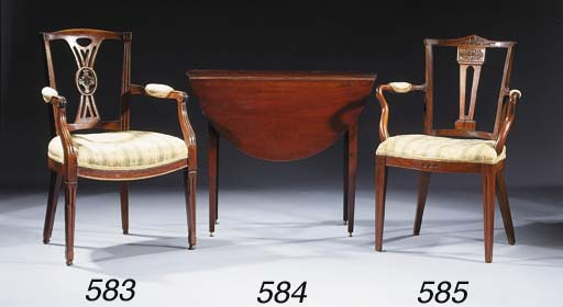 A Dutch mahogany open armchair