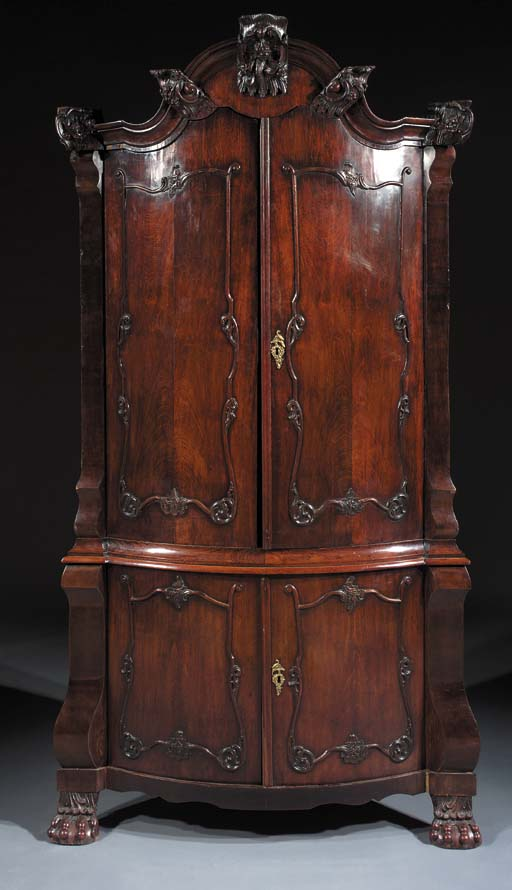 A Dutch mahogany bow-fronted c