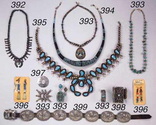 A NAVAJO NECKLACE AND A PAIR O