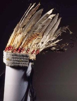 A PLAINS INDIAN FEATHER HEADDR