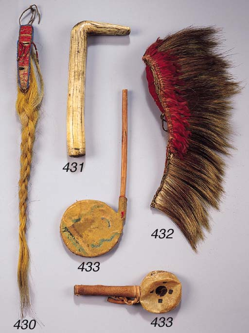 A PLAINS INDIAN RATTLE AND A P