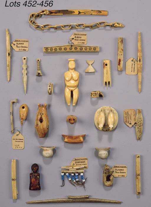SEVEN INUIT IVORY AND STONE AR