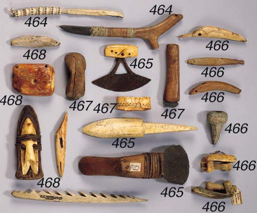 FOUR INUIT ARTIFACTS AND A HAR