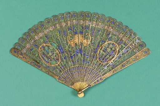 A Canton brise filigree fan