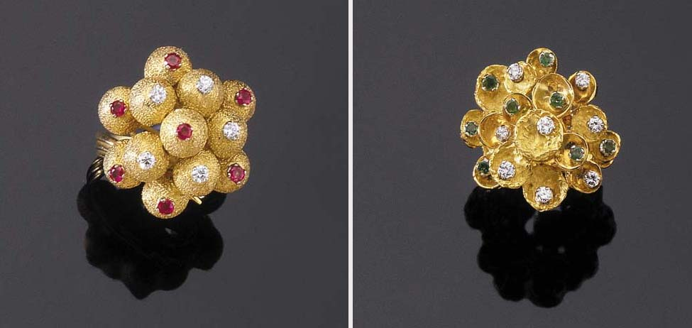 TWO GOLD, DIAMOND, RUBY AND EMERALD COCKTAIL RINGS