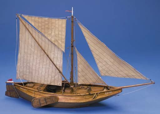 A detailed 1:25 scale built static display waterline model of the Dutch botter Arnemuiden