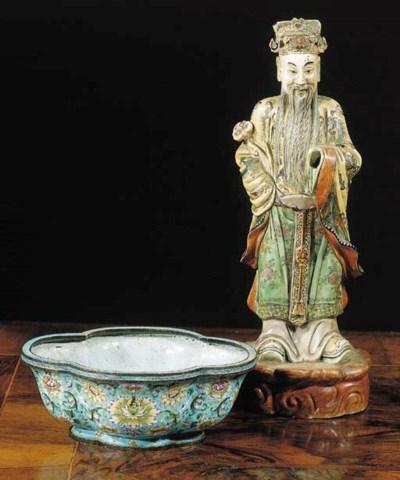 A Canton enamel quatrefoil jar