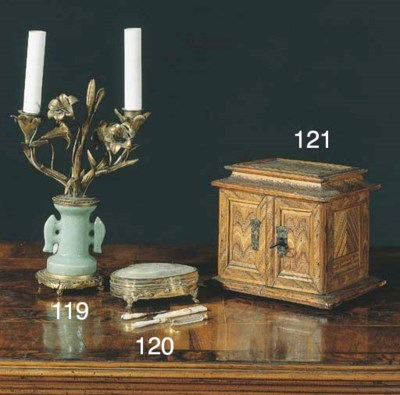 A French metal-gilt sewing box