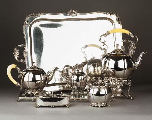 A Dutch silver extensive tea-service on tray