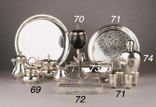 A Russian silver tray with four small cups