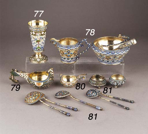 A small Russian silver-gilt and cloisonné enamel kovsh