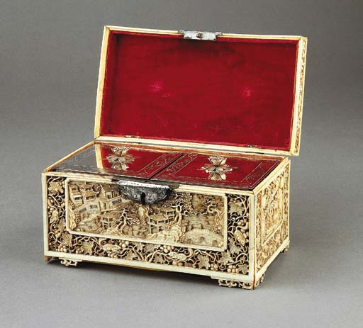 A Chinese carved ivory tea casket with two Dutch silver tea-caddies