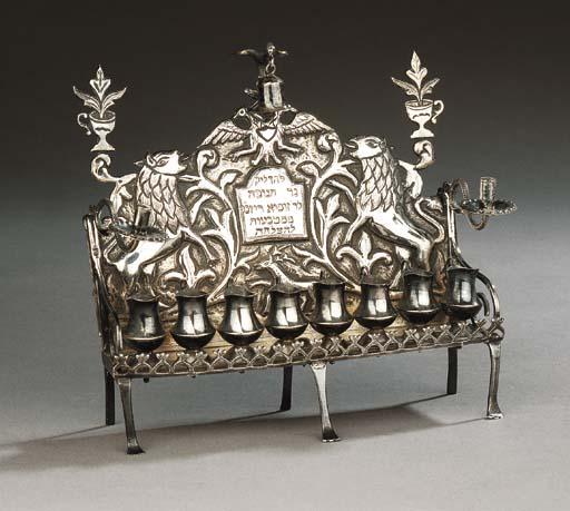 A fine and rare silver Chanukkah lamp