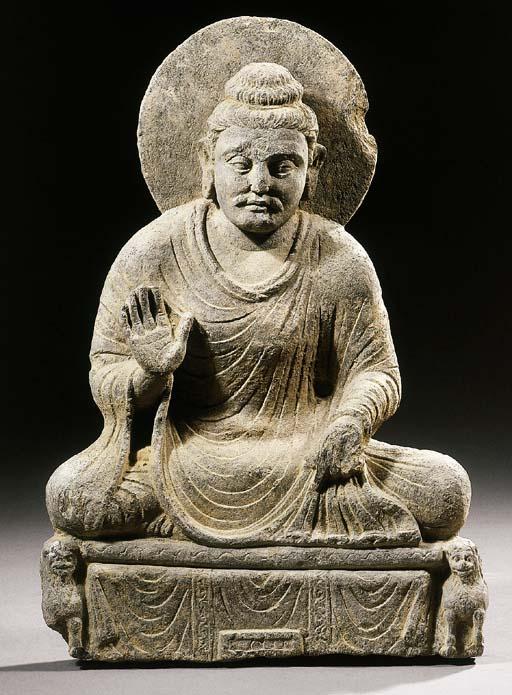 a rare gandhara round carved s