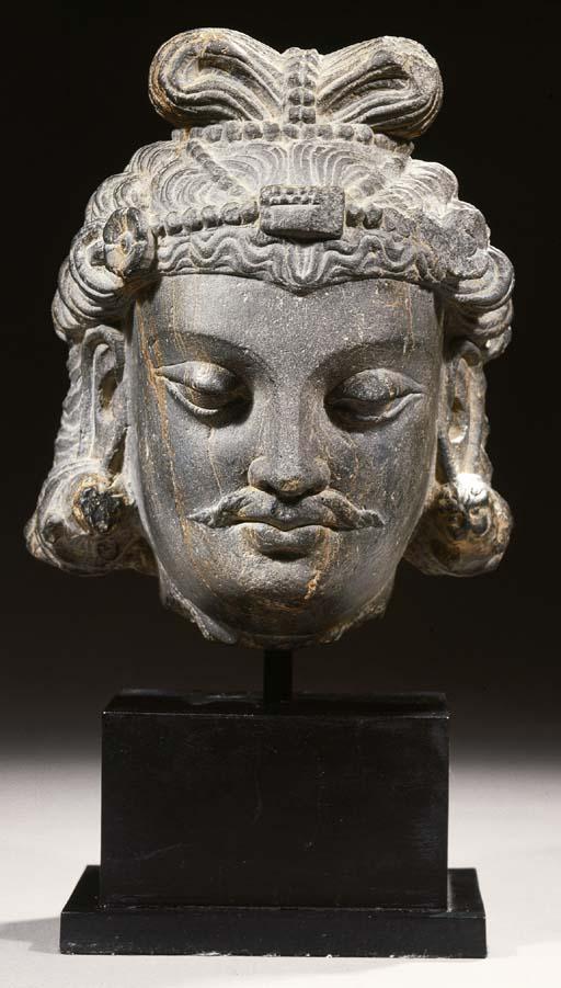 a fine gandhara schist head of