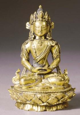 a mongolia gilt-bronze figure