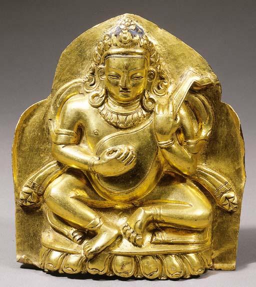 a tibetan gilt-copper placque