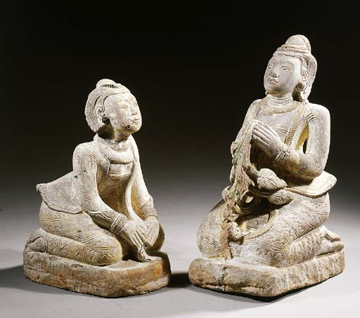 a pair of burmese stone female