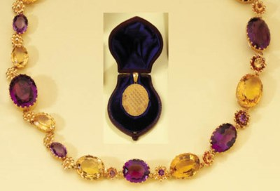 A GOLD AMETHYST AND CITRINE NE