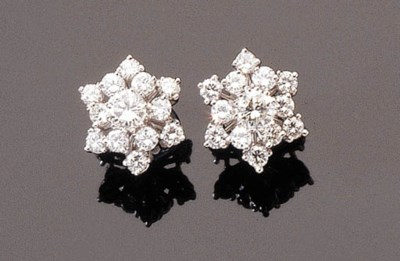 A PAIR OF WHITE-GOLD AND DIAMO