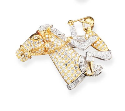 AN 18K GOLD AND DIAMOND HORSE