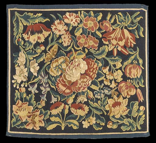 A DUTCH FLORAL TAPESTRY PANEL