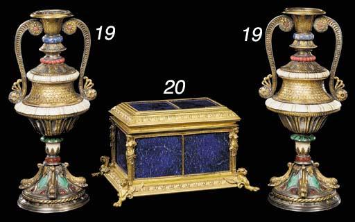 A gilt-bronze and lapis lazuli