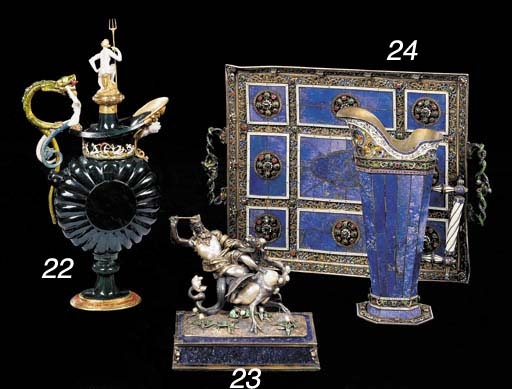 A Viennese silver, enamel, sea pearl and lapis lazuli figure of St. George slaying the Dragon