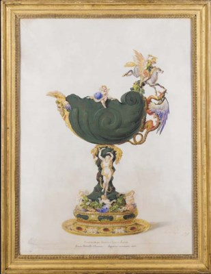 A framed parcel-gilt watercolo