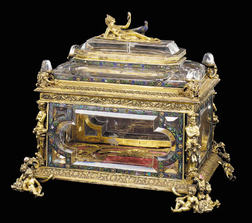 A silver-gilt and paste-set ro