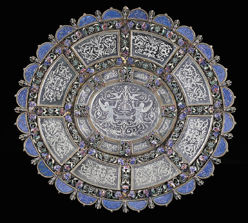 A Viennese silver, enamel, roc