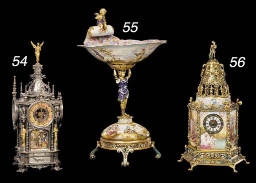 A Viennese gilt-metal and enamel tazza