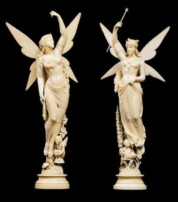 A pair of German ivory figures