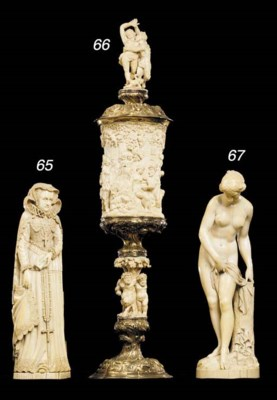 A large French ivory triptych