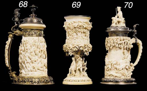 A silver-mounted ivory lidded