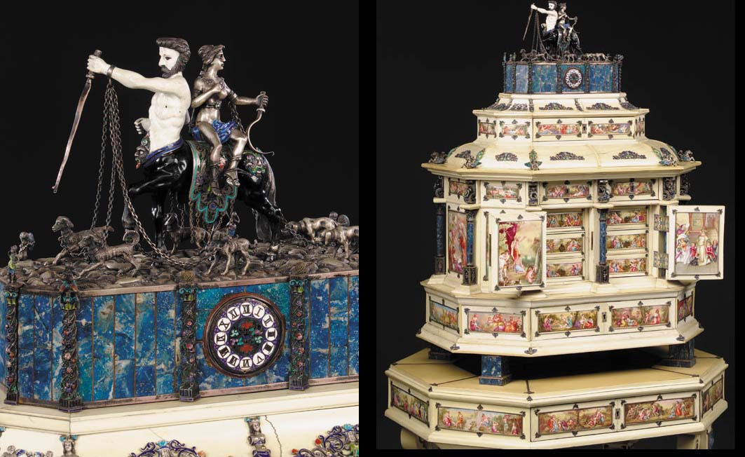 A Viennese paste-set silver, lapis, enamel and ivory casket on stand