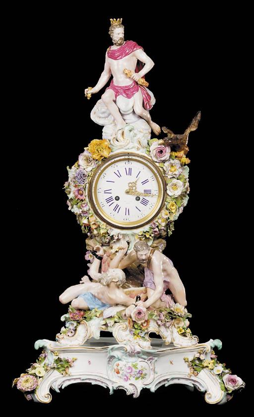 A Meissen porcelain mantle clo