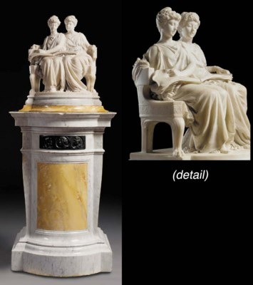 A French white marble group, o
