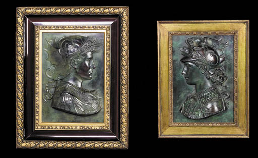 Two German patinated-bronze plaques