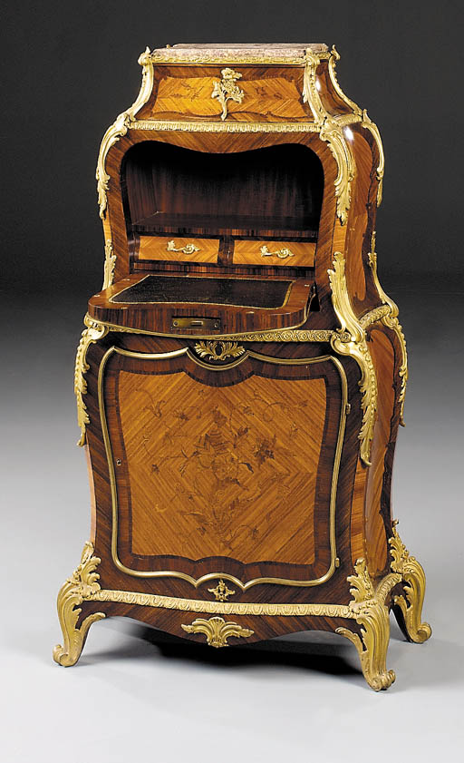 A French ormolu-mounted kingwood and marquetry secretaire-à-abattant