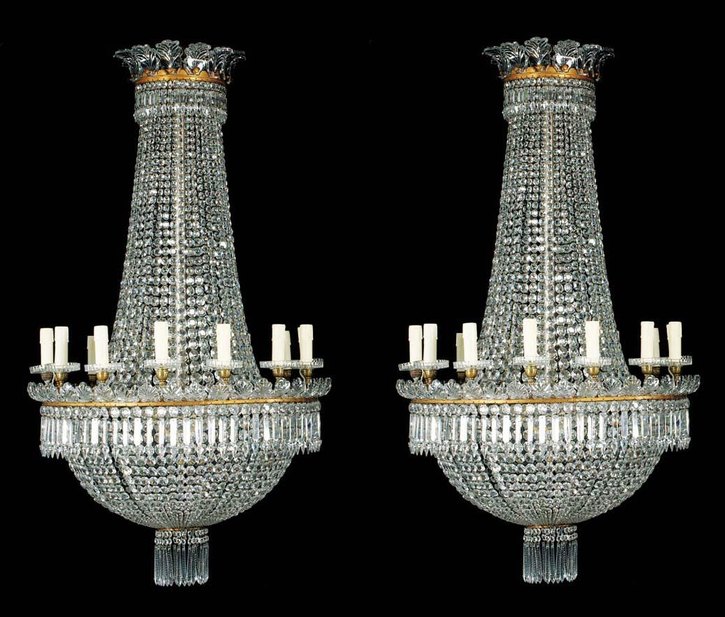 A pair of crystal glass twenty