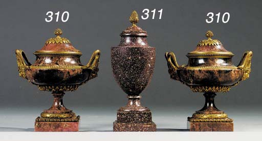 A pair of Russian ormolu-mounted Rhodonite vases and covers
