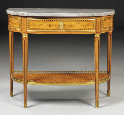 A French ormolu-mounted stained-marquetry, parquetry and tulipwood console desserte