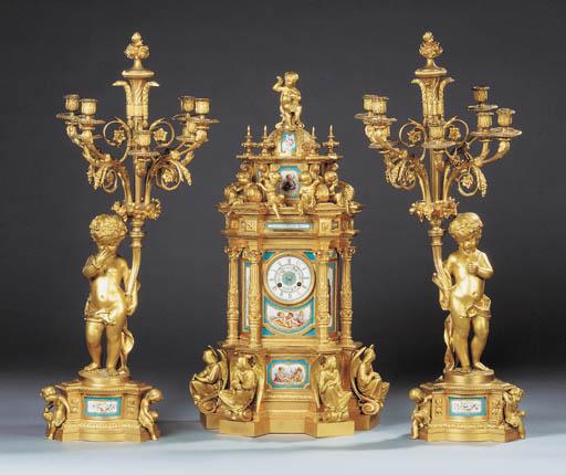 A Napoleon III ormolu-mounted and Sèvres-pattern porcelain clock garniture