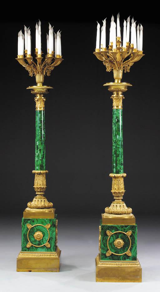 A pair of Russian gilt-bronze